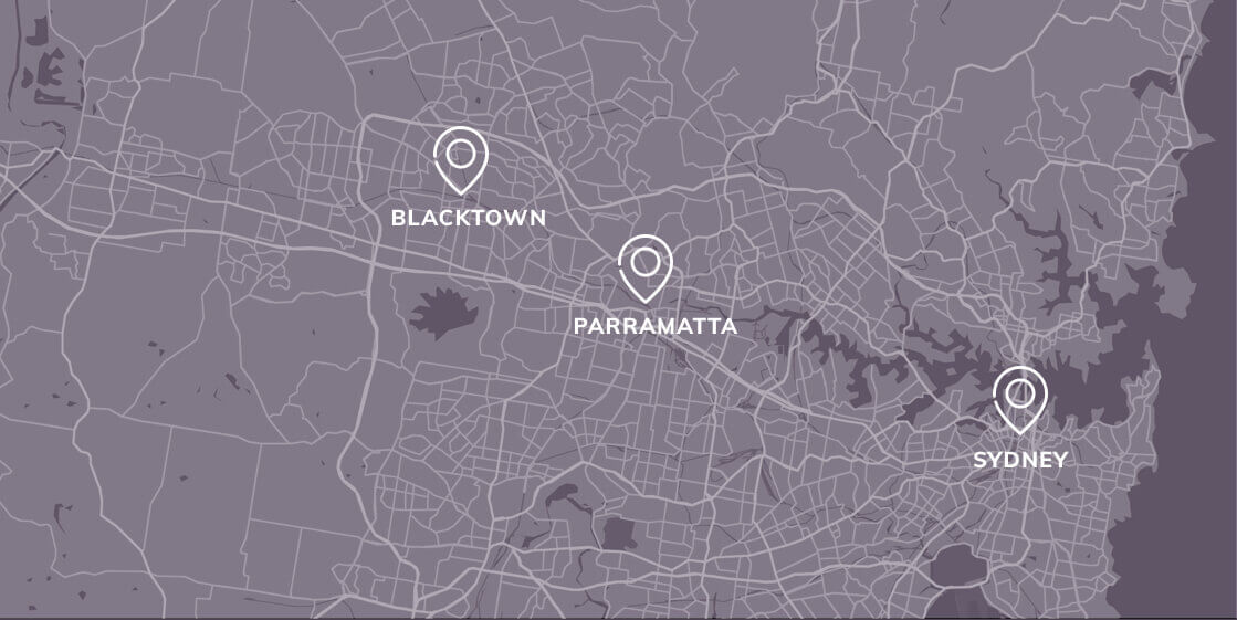 Map of sydney with blacktown parramatta and sydney offices marketed